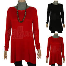 black or red fine knit tunic jumper