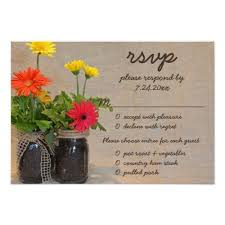Mason Jar Daisy Country Rustic Wedding RSVP Card