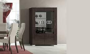 details zu vitrine wohnzimmer esszimmer schrank glasvitrine braun nussbaum hochglanz modern