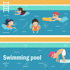 Kids In The Swimming Pool Vector Illustration Cartoon Characters Flat Isolated
