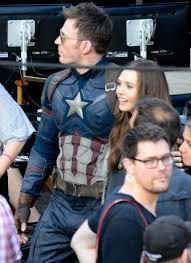 Chris Evans And Elizabeth Olsen On The Set Of Captain America Civil War