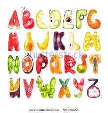 Food Alphabet Made Ve ables Fruits Font Stock Vector