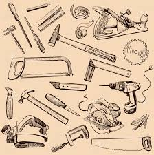 Joinery Icons Set Carpenter Character At Work Woodworking Tools Of Antique