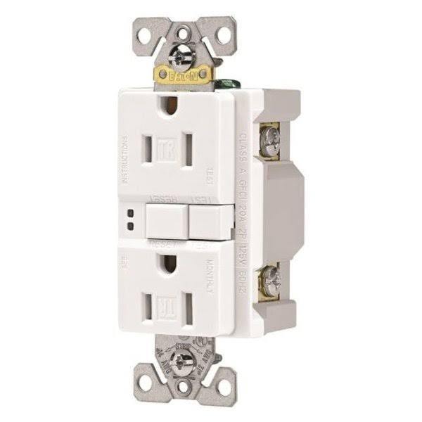 Eaton GFCI Self-Test Tamper Resistant Duplex Receptacle - White, 15A, 125V