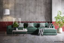 modern loft and vintage interior of living room green sofa