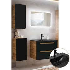 lomadox badmöbel set new luton spar set 5 tlg in seidenmatt anthrazit mit wotaneiche mit 80cm keramik waschtisch led spiegel b h t ca