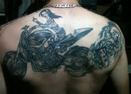 Harley Davidson Motorbike Tattoo On Back