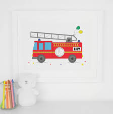 Personalised Nursery Wall Art Little Boy's Fire Engine By Paper Joy ...