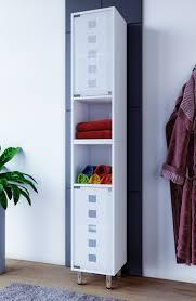 vcm badschrank hochschrank badregal badmöbel glastür schrank möbel darola 180 x 30 x 30 cm weiß holz badmöbel midischrank darola mit glastür farbe