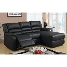 Poundex 3pc Sectional Sofa Set by Madison Modern Bonded Leather Small Space Sectional Reclining Sofa