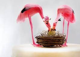 Pink Flamingo Baby Shower Cake Topper Tropical Mom Dad And