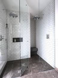 white subway tile shower wall houzz