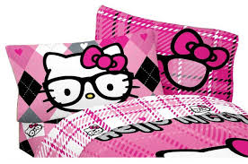 sanrio hello kitty bed sheet set i heart nerds plaid bedding
