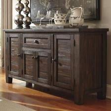 Wood Server Buffet Sideboard Pine Dark Dining Room Storage Cabinet Rustic