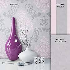 newroom barocktapete tapete grau ornament barock vliestapete rosa vlies moderne design optik barocktapete wohnzimmer inkl tapezier ratgeber