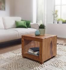 finebuy sheesham massiv holz couchtisch 50 x 50 cm wohnzimmer tisch design dunkel braun landhaus stil beistelltisch natur produkt echtholz unikat
