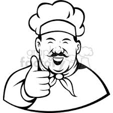 chef giving a thumbs up black white clip art