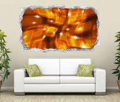 3d wandtattoo durchbruch 3d effekt quadrate spirale gold braun abstrakt kunst wand aufkleber wanddurchbruch sticker selbstklebend wandbild