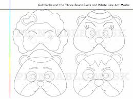 Coloring Pages Goldilocks And The Three Bears Mask Paper Diy Birthday Costume Kids Party Decoration Photo Props Black White