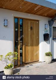 pine front door with a pair of planters and matching wall lights