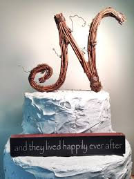 Letter N Rustic Handcrafted Wedding Cake Topper