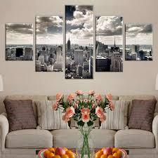 leinwand gemälde wand kunst rahmen wohnkultur 5 stück new york city gebäude poster für wohnzimmer modulare hd drucke bilder
