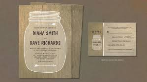 Mason Jar Modern Rustic Wood Wedding Invites