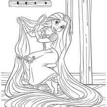 Beautiful RAPUNZEL WITH HER LONG HAIR Coloring Page