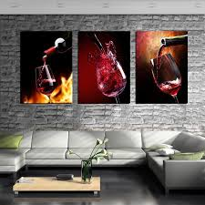 3 Piece Canvas Art Kitchen Paintings Red Wine Cup Bottle Wall Dinning Room Pictures Vineyard Vines Modern Painting In Calligraphy From