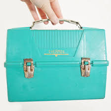 Vintage Turquoise Blue Thermos Brand Lunch Box Plastic Metal Clasps White Handle Back To School Autumn