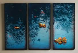 Wall Art Painting Expressive Personalized Curstom Admirable Creative Home Interior Well Painted Rectangular 3 Panels Water Blue Leaves Floating Yellow