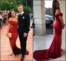 2016 red prom dresses black split side couples fashion