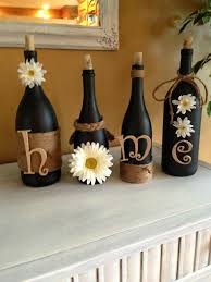 Wine bottle craft diy home decor Pinterest