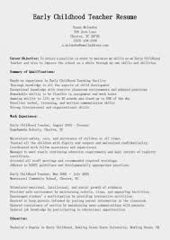 10 Early Childhood Education Resume Example Free Sample Resumes