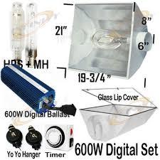 digital ballast metal air cool reflector mh hps grow light system