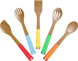 Black Wooden Spoon And Fork Wall Decor by Vremi 5 Piece Bamboo Wooden Spoons And Cooking Utensil Set