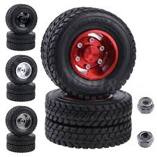 100 14 Truck Tires 2pcsLot Twin Aluminum Wheels For Tamiya 1 RC Tractor