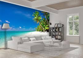fototapete strand und meer karibik fototapeten tapete wandbild palmen sand himmel m0030