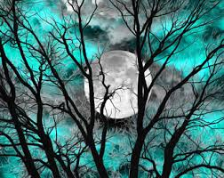 Teal Wall Art Picture Tree Moon Decor Modern Bedroom
