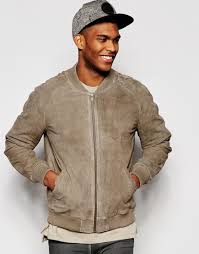 asos suede bomber jacket in stone in brown for men lyst