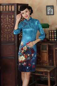 popular cheongsam silk blue buy cheap cheongsam silk blue lots