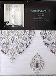 cynthia rowley set of 2 curtain panels taupe beige gray medallion