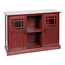 Tuscan Red Cabinet With Square Window Doors