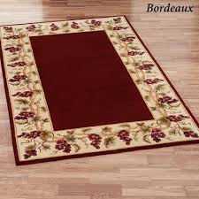 Wine And Grape Kitchen Decor Ideas by Bordeaux Border Round Area Rug