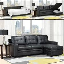 Costco Madison Black Bonded leather Sofa Bed with Chaise Polyvore
