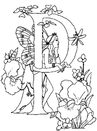 Letter P Alphabet Fairy Daydreaming Coloring Pages