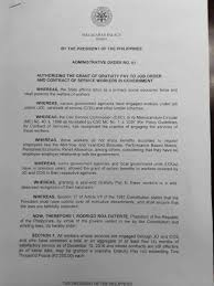 Cabinet Agencies Of The Philippines duterte oks gratuity pay of contractual workers in gov u0027t