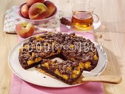 schoko streusel mit pfirsich kuchen backen rezeptfoto