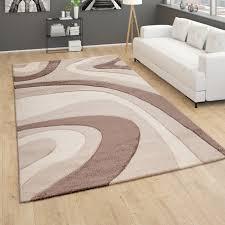 teppich wohnzimmer kurzflor modernes abstraktes wellenmuster 3d optik beige braun