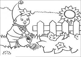 Boy Watering Flowers In The Garden Coloring Picture For Kids